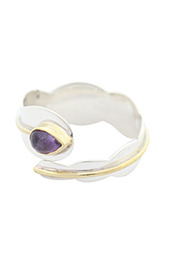 Vogue Crafts and Designs Pvt. Ltd. manufactures Purple Stone Bypass Silver Ring at wholesale price.