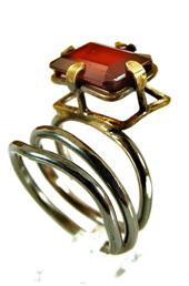 Designer Red Stone Silver Ring