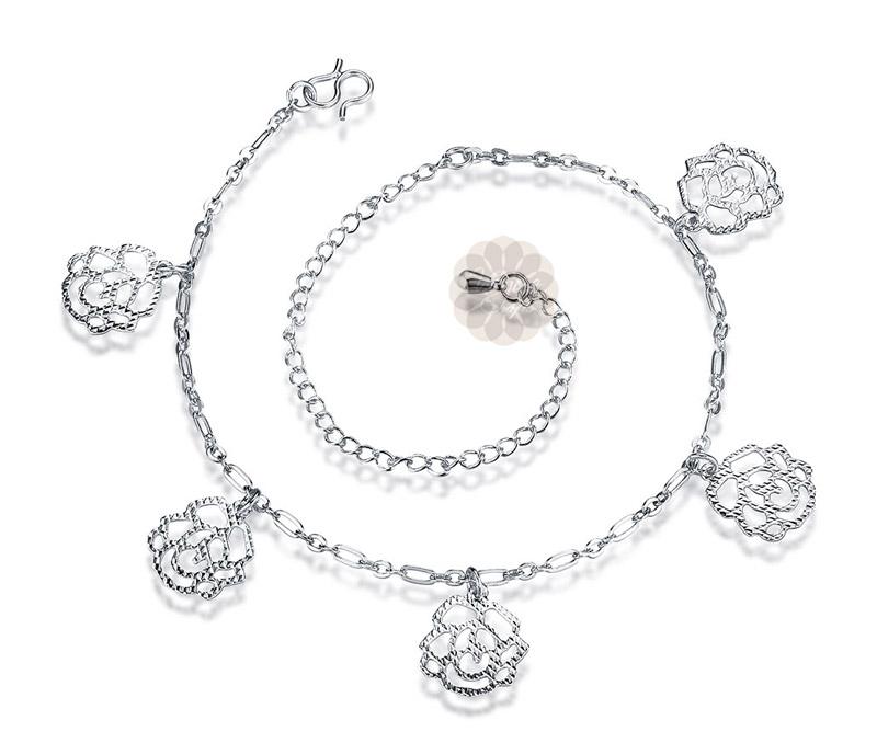 Vogue Crafts & Designs Pvt. Ltd. manufactures Rose Flower Silver Anklet at wholesale price.