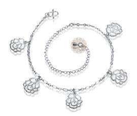 Vogue Crafts and Designs Pvt. Ltd. manufactures Rose Flower Silver Anklet at wholesale price.