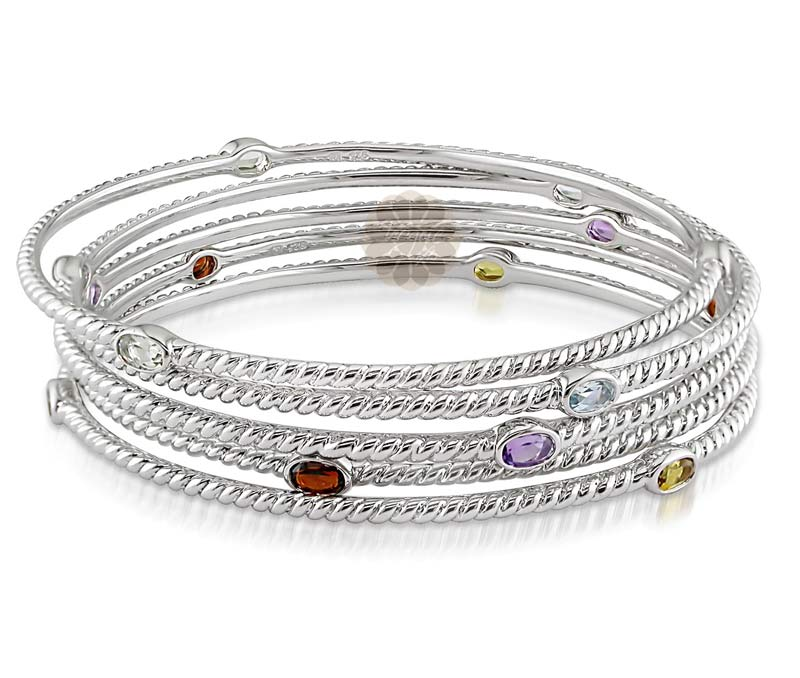 Buy Multicolor Silver Bangle Stack At Wholesale Prices