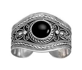 Black Stone Silver Cuff