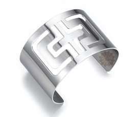 Vogue Crafts and Designs Pvt. Ltd. manufactures Cut Out Cross Silver Cuff at wholesale price.