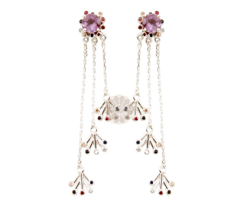 Vogue Crafts & Designs Pvt. Ltd. manufactures Floral Dangler Silver Earrings at wholesale price.