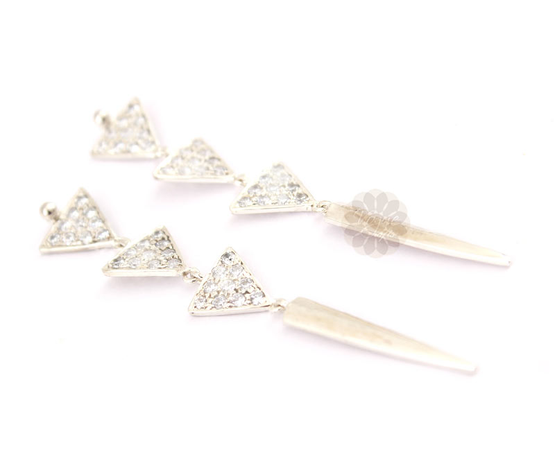 Vogue Crafts & Designs Pvt. Ltd. manufactures Three Tier Triangular Silver Earrings at wholesale price.