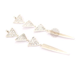 Vogue Crafts and Designs Pvt. Ltd. manufactures Three Tier Triangular Silver Earrings at wholesale price.