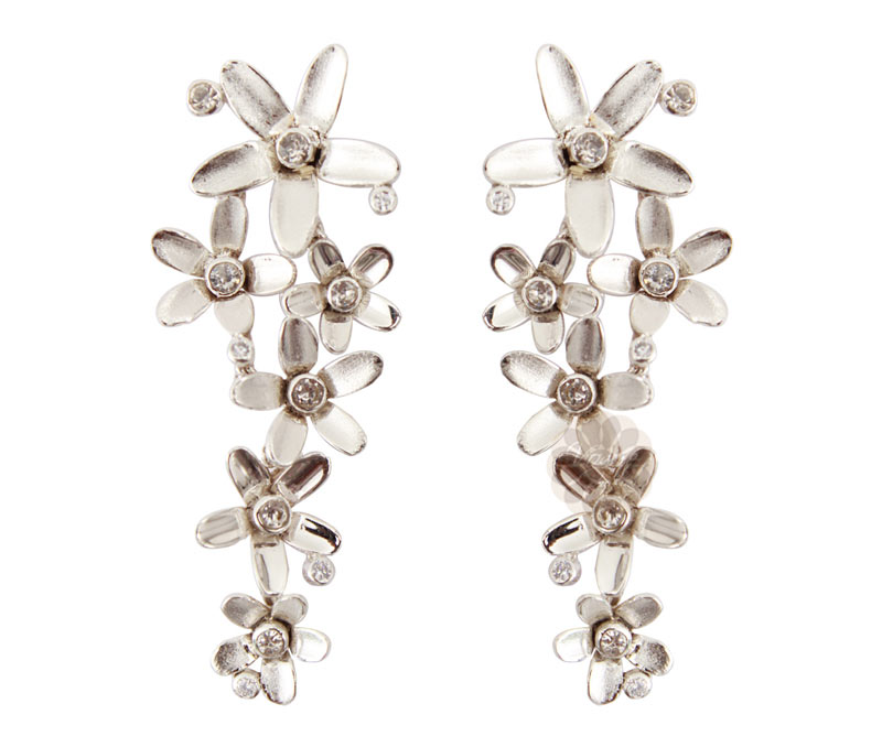 Vogue Crafts & Designs Pvt. Ltd. manufactures Silver Floral Earrings at wholesale price.