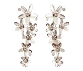 Vogue Crafts and Designs Pvt. Ltd. manufactures Silver Floral Earrings at wholesale price.