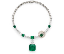 Emerald Stone Silver Necklace