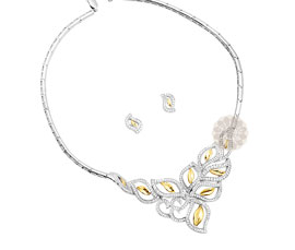 Vogue Crafts and Designs Pvt. Ltd. manufactures Yellow Stone Silver Necklace with Earrings at wholesale price.