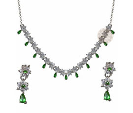 Vogue Crafts and Designs Pvt. Ltd. manufactures Green Stone Silver Necklace with Earrings at wholesale price.