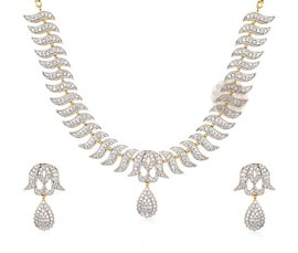 Vogue Crafts and Designs Pvt. Ltd. manufactures Designer Silver Necklace and Earrings Set at wholesale price.