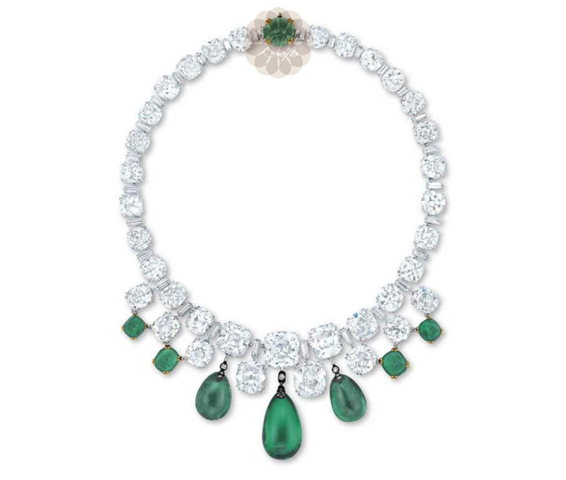 Vogue Crafts & Designs Pvt. Ltd. manufactures Green Stone Choker Silver Necklace at wholesale price.