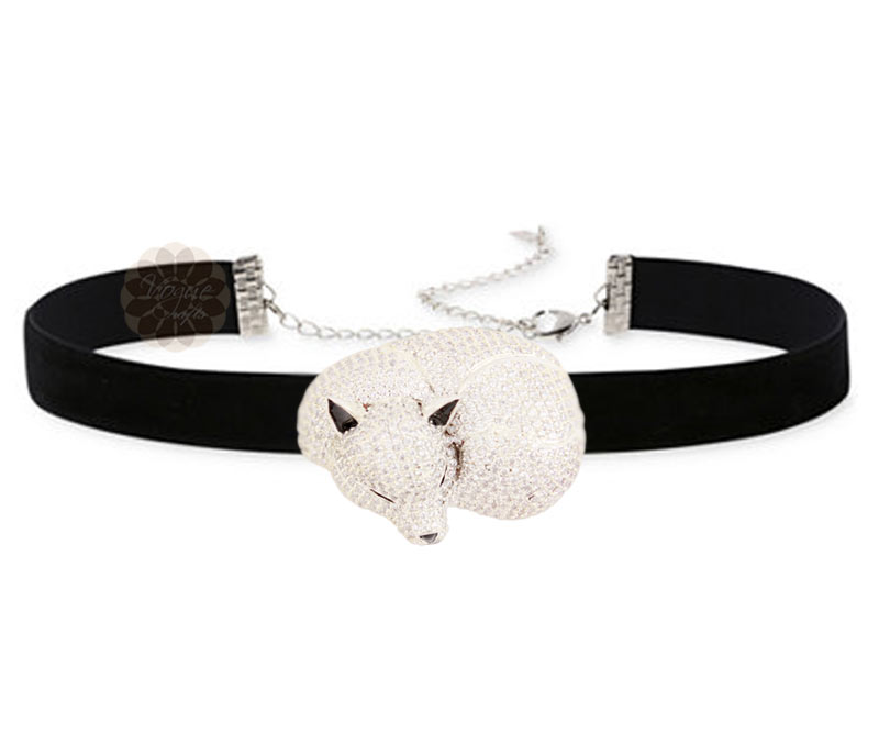 Vogue Crafts & Designs Pvt. Ltd. manufactures Silver Sleeping Fox Choker Necklace at wholesale price.
