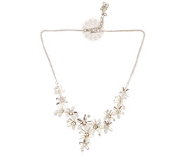 Vogue Crafts and Designs Pvt. Ltd. manufactures Silver Flower Necklace at wholesale price.