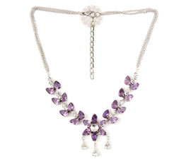 Vogue Crafts and Designs Pvt. Ltd. manufactures Amethyst Stone Silver Necklace at wholesale price.