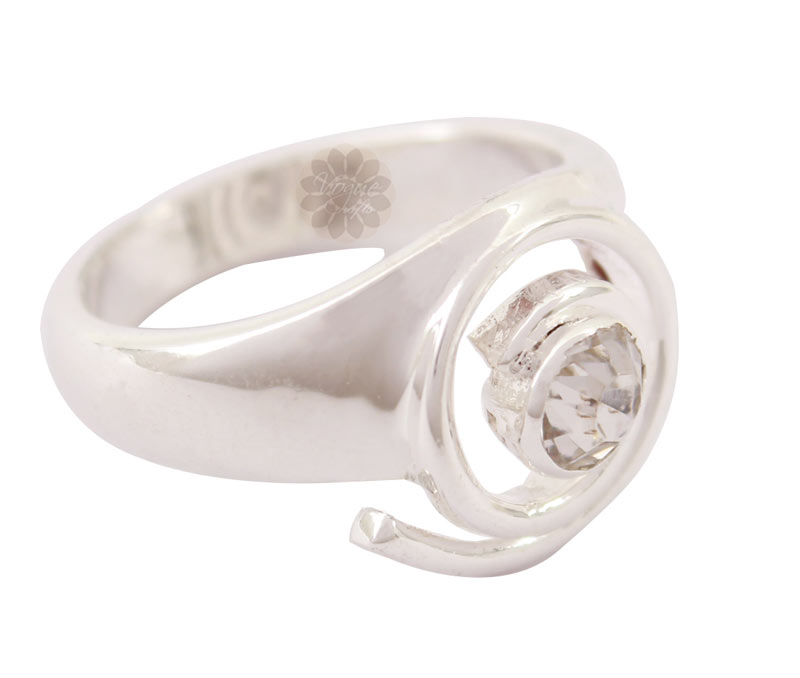 Latest Design Jewelry - White Stone Silver Ring .