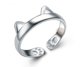 Vogue Crafts and Designs Pvt. Ltd. manufactures Silver Cat Ring at wholesale price.