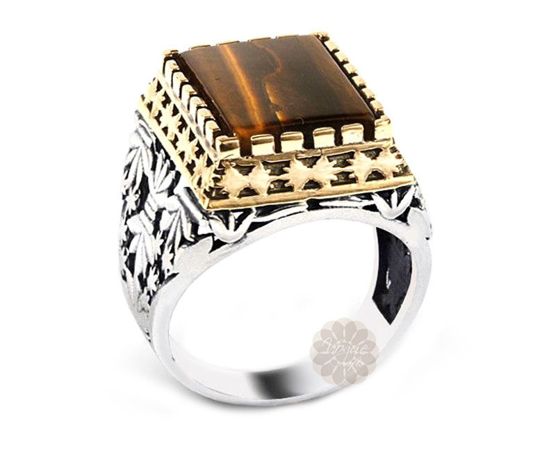Vogue Crafts & Designs Pvt. Ltd. manufactures Brown Stone Silver Ring at wholesale price.