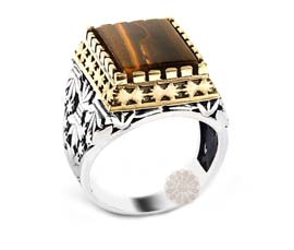 Vogue Crafts and Designs Pvt. Ltd. manufactures Brown Stone Silver Ring at wholesale price.