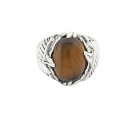 Vogue Crafts and Designs Pvt. Ltd. manufactures Classic Brown Stone Silver Ring at wholesale price.