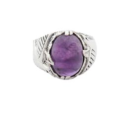 Vogue Crafts and Designs Pvt. Ltd. manufactures Classic Purple Stone Silver Ring at wholesale price.