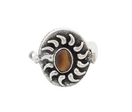 Vogue Crafts and Designs Pvt. Ltd. manufactures Traditional Brown Stone Silver Ring at wholesale price.