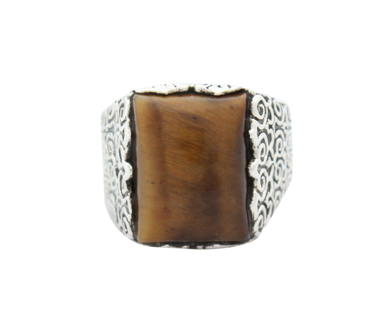 Vogue Crafts & Designs Pvt. Ltd. manufactures Thick Brown Stone Silver Ring at wholesale price.