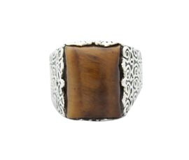 Vogue Crafts and Designs Pvt. Ltd. manufactures Thick Brown Stone Silver Ring at wholesale price.