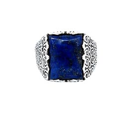 Vogue Crafts and Designs Pvt. Ltd. manufactures Thick Blue Stone Silver Ring at wholesale price.
