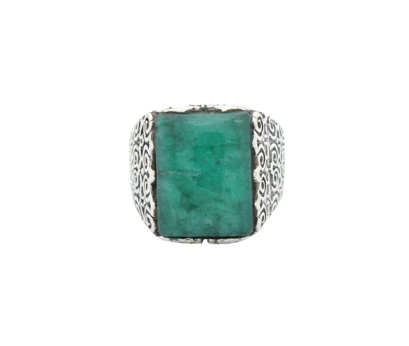 Vogue Crafts & Designs Pvt. Ltd. manufactures Thick Green Stone Silver Ring at wholesale price.