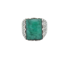 Vogue Crafts and Designs Pvt. Ltd. manufactures Thick Green Stone Silver Ring at wholesale price.