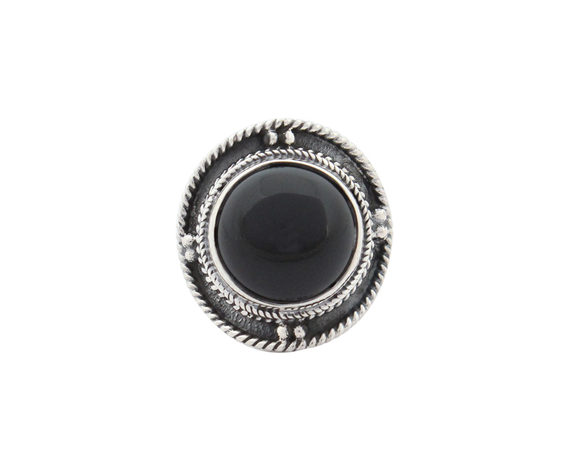 Vogue Crafts & Designs Pvt. Ltd. manufactures Round Black Stone Silver Ring at wholesale price.