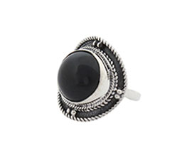 Vogue Crafts and Designs Pvt. Ltd. manufactures Round Black Stone Silver Ring at wholesale price.