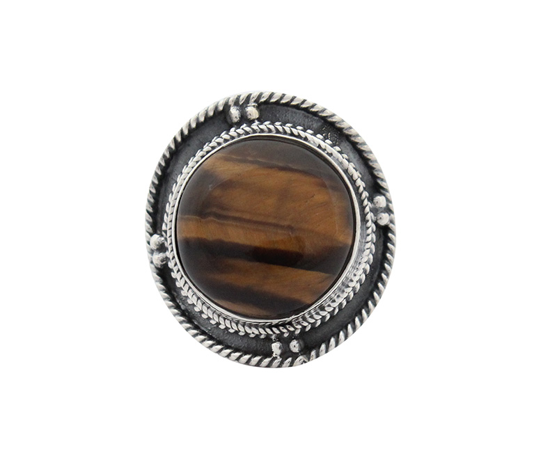 Vogue Crafts & Designs Pvt. Ltd. manufactures Round Brown Stone Silver Ring at wholesale price.