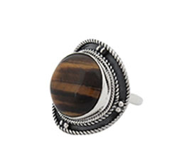Vogue Crafts and Designs Pvt. Ltd. manufactures Round Brown Stone Silver Ring at wholesale price.