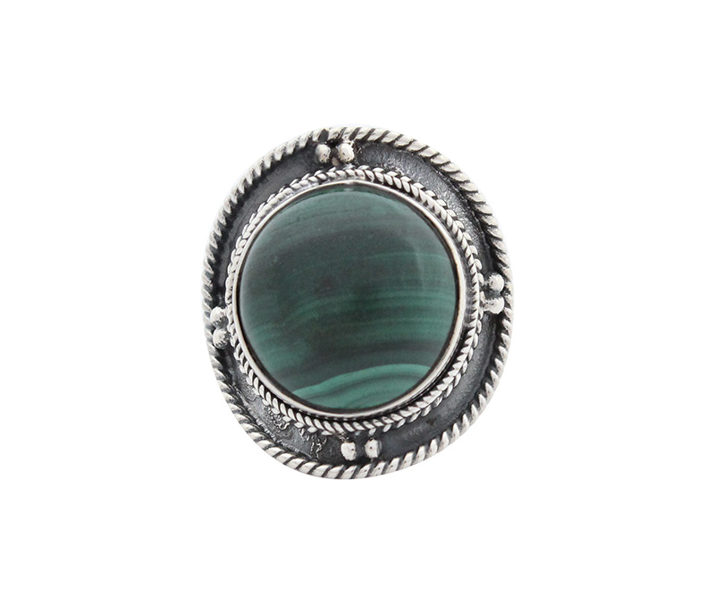 Vogue Crafts & Designs Pvt. Ltd. manufactures Round Green Stone Silver Ring at wholesale price.