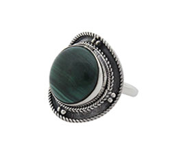 Vogue Crafts and Designs Pvt. Ltd. manufactures Round Green Stone Silver Ring at wholesale price.