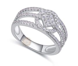 Vogue Crafts and Designs Pvt. Ltd. manufactures Sterling Silver Three Line Ring at wholesale price.