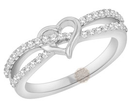 Vogue Crafts and Designs Pvt. Ltd. manufactures Silver Crossover Heart Ring at wholesale price.