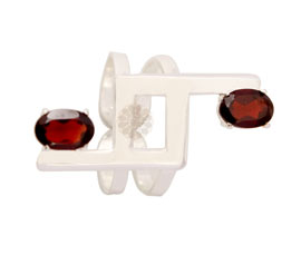 Vogue Crafts and Designs Pvt. Ltd. manufactures Geometric Maroon Stone Silver Ring at wholesale price.
