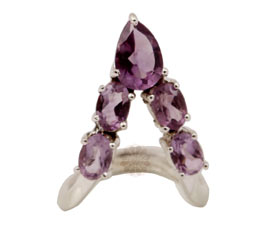 Vogue Crafts and Designs Pvt. Ltd. manufactures Designer Amethyst Silver Ring at wholesale price.