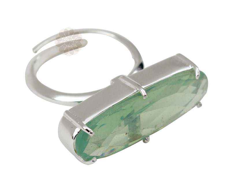 Latest Design Jewelry - Green Stone Silver Ring .