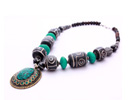 Turquoise metal necklace with silver finish at wholesale price.